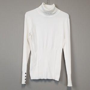 White house black market ivory turtleneck sweater
